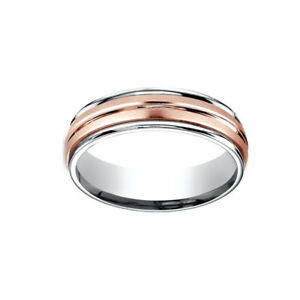 14K Two-Toned 6mm Comfort-Fit Satin Finish Center Cut Men's Band Ring Size 8