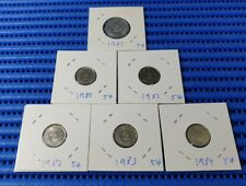 1971, 1980, 1981, 1982, 1983 & 1984 Singapore 5 Cents Coin (6 Varieties 5 Cents)