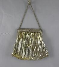 Vintage Whiting & Davis silver tone evening bag rhinestones across the closure