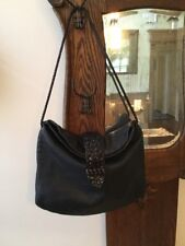 DESMO LARGE Black Pebbled Leather Woven Tote Carryall Shoulder Purse Bag ITALY