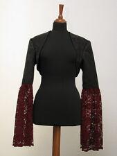 Bolero Brokat mit Spitzenärmeln schwarz bordeaux rot Victorian Gothic Spitze WGT
