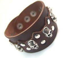 Brown Leather Bracelet Skulls Adjustable 1.5 in. Wide biker New