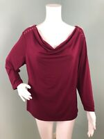 NWT Womens Carmen Marc Valvo 3/4 Sleeve Wine Drape Neck Top Sz XL