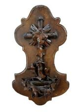 RARE Antique French Guéret Freres Hand Carved Religious Holy Water Font