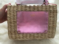 New FRANCES VALENTINE Small Tote Basket Bag Metallic Pink Kate Spade!