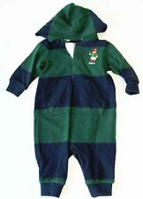Ralph Lauren Baby Boys Striped Hooded Cotton Coverall Emerald Multi Sz 3M - NWT