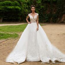 Lace Applique Mermaid Wedding Dress with Removable Long Skirt Bridal Dress