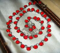 ANTIQUE ART DECO RUBY Red Open Back Crystal Bezel Set Vintage RIVIERE NECKLACE