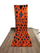 Bohemian Hallway Shaggy Rug Handmade Carpet Kilim Wool Cotton Runner 11'X3'Feet