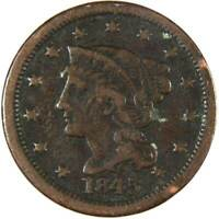 1845 1c Braided Hair Large Cent Penny US Coin Genuine