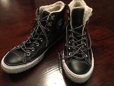 Converse Faux Fur Shearling Black Leather Hiker Hightop Shoes Deep Tread Unisex