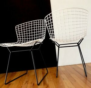 Mid Century Early Style Harry Bertoia Pair Wire Collection Side Chairs Knoll NY