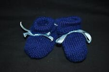 Blue knitted baby booties - handmade