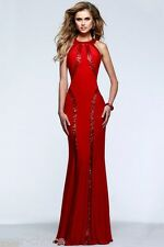 Red Sequin Design Full Length Maxi Evening Party Dress size 12 New