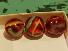 Vintage Transparent Red Yellow & Green Swirl Marbles 3pc Lot Unknown Maker