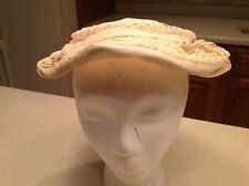Vintage Ladies Hat Ivory W/ Lace Accent Velveteen Bows Rhinestone Accents Pretty