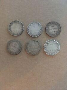 Canada Newfoundland Queen Victoria Lot Of 6 20 Cents 1882,1888,1890,1894,1896,19