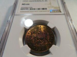 W67 Guatemala 1932 2 Centavos NGC MS-66