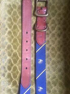 Polo Ralph Lauren Fabric Silk Leather Navy Blue Bulldog Belt 36 34