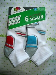 Fruit of The Loom Boys Ankle Socks 6 Pair Size LARGE 3-9 NEW White Red Blue