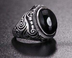 Men Vintage Black Obsidian Stone Silver Titanium Stainless Steel Ring Men 8-12
