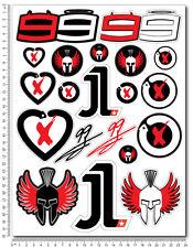 Jorge Lorenzo 99 decals set 9.4x12.6 in sheet 20 stickers Laminated yamaha m1