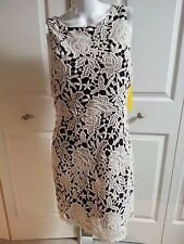 NEW Alice + Olivia EMBROIDERED LACE BLACK/NUDE ELEGANT DRESS SIZE 8