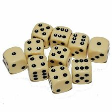 10 Ivory Coloured Dice, (six sided), 16mm , D6