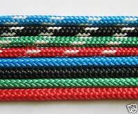 "Polyester braid-on-braid rope 6mm 1/4"" blue, black, white, yachting equestrian"