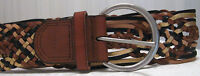 FOSSIL Braided Leather Belt Brown/Black/Gold/Tan Silvertone Buckle Size M EUC