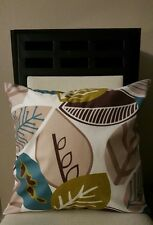 """Beautiful Brown Tan Green & Teal Multi Leaves Throw Pillow Case Cover 18"""" US"""