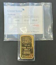 Vintage 10ozt Credit Suisse Gold Bar .9999 Fine with Assay Card, Factory Sealed