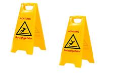2x Warnschild Achtung Rutschgefahr Warnaufsteller Vorsicht Glätte Hinweiss