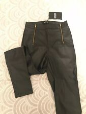 Missguided Black PU Leather Skinny Trousers Uk 6 BNWT