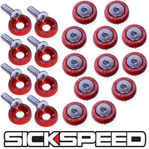 RED 20 PC BILLET ALUMINUM FENDER/BUMPER WASHER/BOLT ENGINE BAY DRESS UP P4