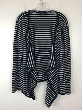 Talbots Open Front Draped Cardigan Sweater Black White Cotton XL EUC
