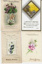 4 Early Birthday Postcards w/add-on glitter,embroidery or paint. Exc