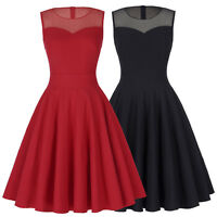 Retro 50's Swing Dance Women Pinup Tea Party A-line Full Skirted Cocktail Dress