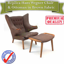 Replica Hans Wegner Papa Bear Chair and Ottoman in Brown Fabric and Walnut base