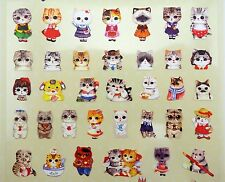 Cute cat stickers! Kawaii big eyed Scottish Fold cat people, chubby kitten, paws