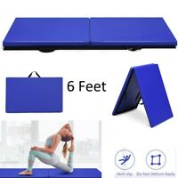 Folding Mat Thick Foam Fitness Exercise Gymnastics Panel Gym Workout 6' Blue Pad