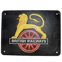 British Railway Lion Sign Cast Iron Sign Plaque Wall Fence Train Locomotive