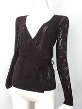 Luxe ESPRIT Silk Angora Lurex Sheer Holey Wrap Tie Top Cardigan Brown 6 8 XXS XS