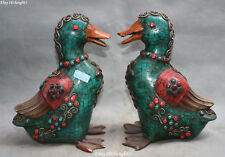 """8"""" Old Chinese Turquoise Red Coral inlay Gem Duck Swan Bird Animal Statue Pair"""