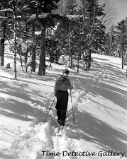 Skier on Cross-Country Trail, Mt. Mansfield, Vermont-c 1940-Historic Photo Print