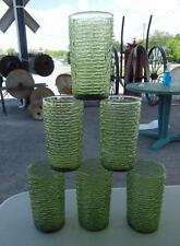 "SET 6 AVOCADO GREEN SORENO ANCHOR HOCKING DRINKING WATER GLASSES 5"" TALL"