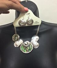 Silver Abalone Shell Round Swirl Disk Pendant Chain Necklace Earrings Charm
