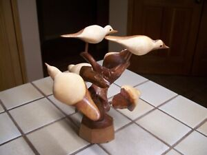 "HAND CARVED WOODEN BIRDS IN TREE 6 BIRDS GLASS EYES FOLK ART 8"""