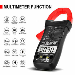 Clamp Meter AC DC Current Multimeter DMM RMS Resistance Ohm Tester 6000 Counts