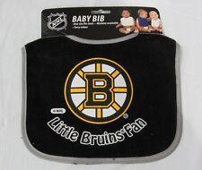 NHL NWT INFANT BABY BIB- BLACK - BOSTON BRUINS- GRAY TRIM